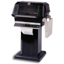 MHP JNR4DD Propane Gas Grill With Stainless Steel Shelves And SearMagic Grids On Black Patio Base
