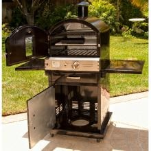 Pacific Living PL8BLK Natural Gas Black Outdoor Pizza Oven On Cart (Ships As Propane With Natural Gas Fittings) Pacific Living PL8BLK Natural Gas Outdoor Pizza Oven Cart Interior