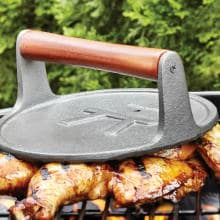 8-Inch Diameter Round Cast Iron Grill Press With Rosewood Handle