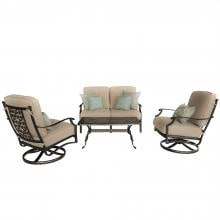 Carondelet 4 Piece Cast Aluminum Patio Conversation Set W/ Loveseat, Swivel Rocker Club Chairs & Sunbrella Spectrum Sand Cushions By Lakeview Outdoor Designs Carondelet 4 Piece Cast Aluminum Patio Conversation Set W/ Loveseat, Swivel Rocker Club Chairs & Sunbrella Spectrum Sand Cushions By Lakeview Outdoor Designs