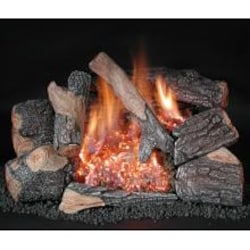 Rasmussen 18-Inch Bark Gas Log Set With Vent Free Propane Evening Embers C8 Double Burner - Remote Ready Safety Pilot image