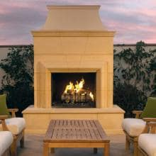 American Fyre Designs Cordova 74-Inch Outdoor Natural Gas Fireplace - Cafe Blanco image
