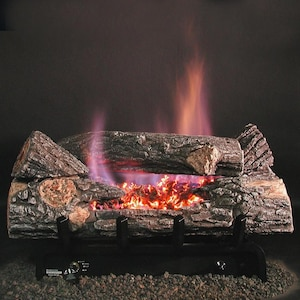 Rasmussen 18-Inch Bark See-Thru Gas Log Set With Vent Free Natural Gas Evening Embers DFC7 Single Burner - Manual Safety Pilot image