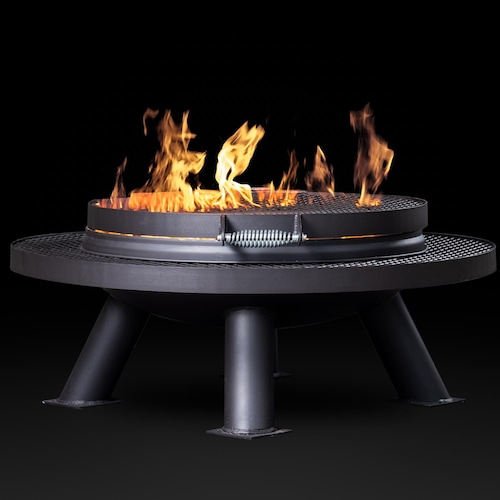 Texas Original Pits Spindletop 30 Inch Round Wood Burning Fire Pit W Removable Grill Grate Fpg 30 Bbqguys