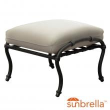 Elysian Aluminum Patio Ottoman W/ Sunbrella Canvas Antique Beige Cushion By Lakeview Outdoor Designs image