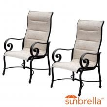 Elysian 2 Piece Padded Sunbrella Sling Aluminum Patio Dining Chair By Lakeview Outdoor Designs image