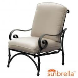 Elysian Aluminum Patio Club Chair W/ Sunbrella Canvas Antique Beige Cushion By Lakeview Outdoor Designs image
