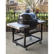 Primo Ceramic Charcoal Smoker Grill - Oval XL Primo Oval XL in Cart With Stainless Steel Shelves - Optional Cart Not Included