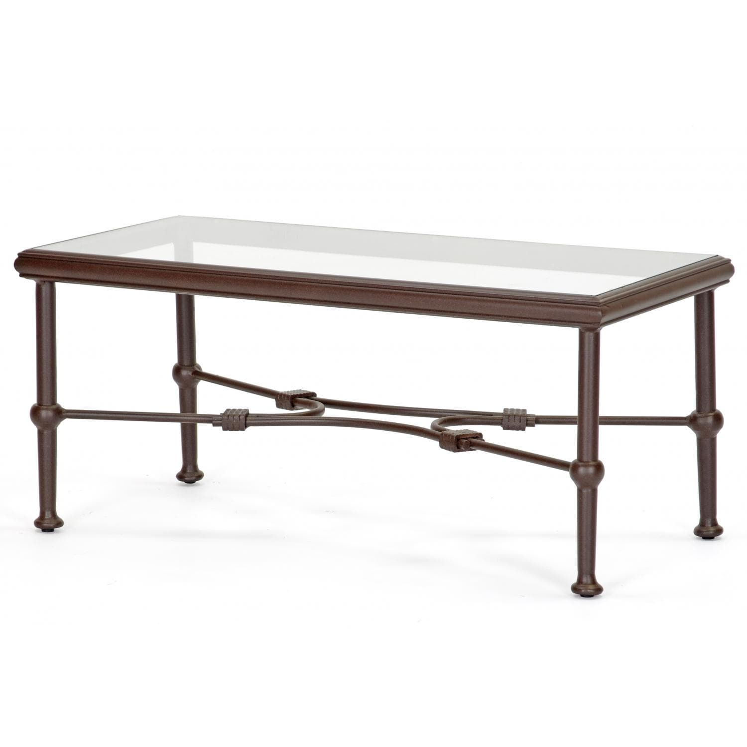 Aluminum Patio Coffee Table: Caluco Origin Cast Aluminum Patio Coffee Table With Glass