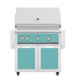 Hestan 36-Inch Propane Gas Grill W/ Rotisserie On Double Door Tower Cart - Bora Bora - GABR36-LP-TQ image