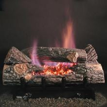 Rasmussen 30-Inch Bark See-Thru Gas Log Set With Vent Free Propane Evening Embers DFC7 Single Burner - Remote Ready Safety Pilot
