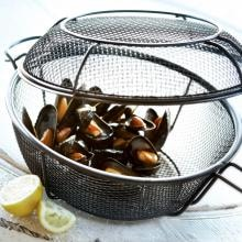 11-Inch Diameter Jumbo Non-Stick 3-In-1 Chef's Grill Basket And Skillet Outset 11-Inch Diameter Non-Stick 3-In-1 Grill Basket And Skillet - Close-Up With Clams
