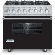 Viking VDSC536-6BLP 36-Inch Professional Series Dual Fuel Propane Gas Range With 6 Burners - Black