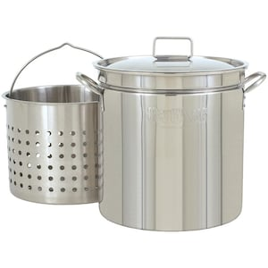 Bayou Classic Pots With Steam/Boil Basket 24 Quart Stainless Steel Stock Pot image