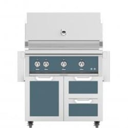 Hestan 36-Inch Propane Gas Grill W/ Sear Burner & Rotisserie On Double Drawer & Door Tower Cart - Pacific Fog - GMBR36-LP-GG image