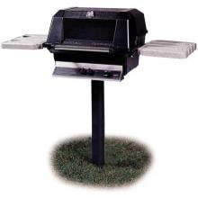 MHP WNK4 Natural Gas Grill With Nu-Stone Shelves And SearMagic Grids On In-Ground Post MHP Gas Grills WNK4 Gas Grill On In-Ground Post