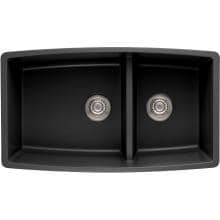 Blanco Performa 33 X 19 Silgranit II 1-3/4 Double Bowl Undermount Sink - Anthracite - 441312 image