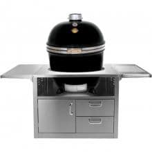 Grill Dome Infinity Series XL Kamado Grill On Stainless Steel Cart - Black
