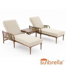 Arabella 3 Piece Aluminum Patio Chaise Lounge Set W/ Sunbrella Cast Ash Cushions By Lakeview Outdoor Designs image