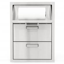 BBQGuys.com Sonoma Series 20-Inch Stainless Steel Double Access Drawer With Paper Towel Dispenser BBQGuys.com Sonoma Series 20-Inch Double Access Drawer - Front View Open