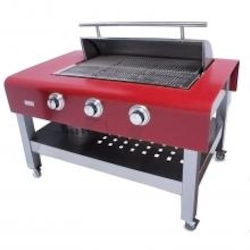 Rockwell By Caliber 60-Inch Propane Gas Grill On Stainless Table - Stainless Handle - Red image