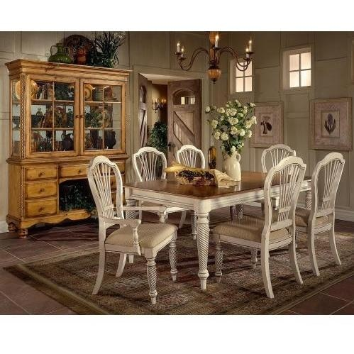 Hillsdale Wilshire 7-piece Rectangle Dining Set With 4 Side Chairs And 2 Arm Chairs - Pine/antique White - 4508dtbrctcsc
