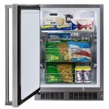 Marvel 24-inch 4.7 Cu. Ft. Left Hinge Outdoor Rated Compact Freezer - MO24FAS1LS Marvel 24-inch Left Hinge Outdoor Compact Freezer - Front Open View