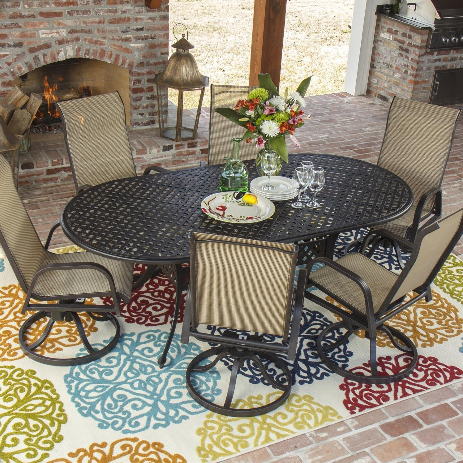 Madison Bay 7 Piece Sling Patio Dining Set With Swivel Rockers And
