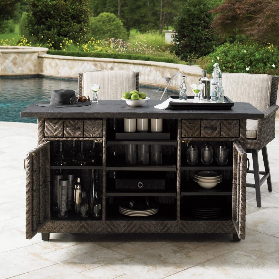 Tommy Bahama 3230 960 Blue Olive Wicker Patio Party Bar W/ Weatherstone Top    Open Outside