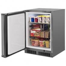 Marvel 24-inch 4.7 Cu. Ft. Left Hinge Outdoor Rated Compact Freezer - MO24FAS1LS Marvel 24-inch Left Hinge Outdoor Compact Freezer - Angled Open View