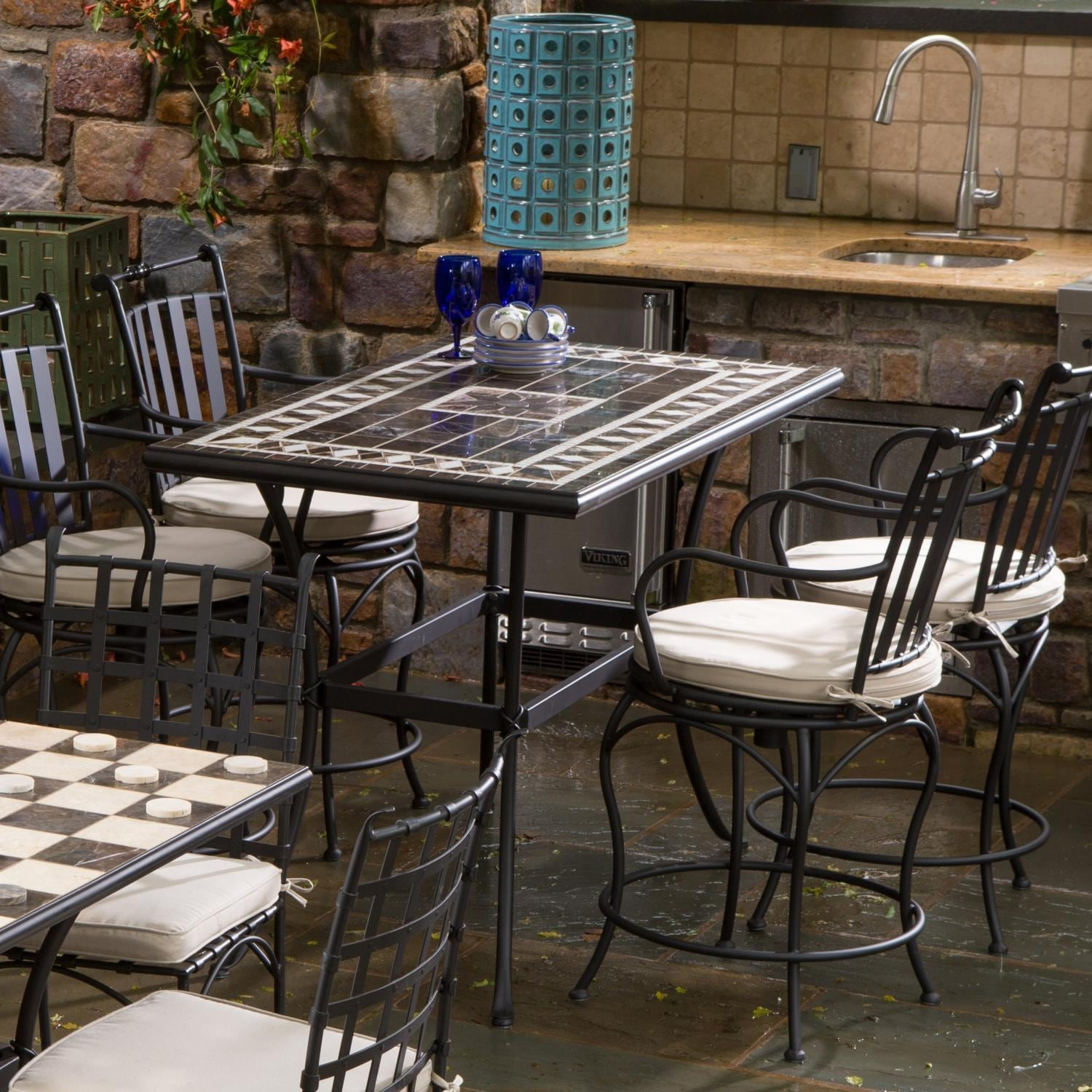 alfresco home gibraltar 4 person mosaic counter height dining set