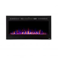 Touchstone Home Products Sideline 40-Inch Wall Mount/Flush Mount Electric Fireplace With Black Glass Surround - 80027 image