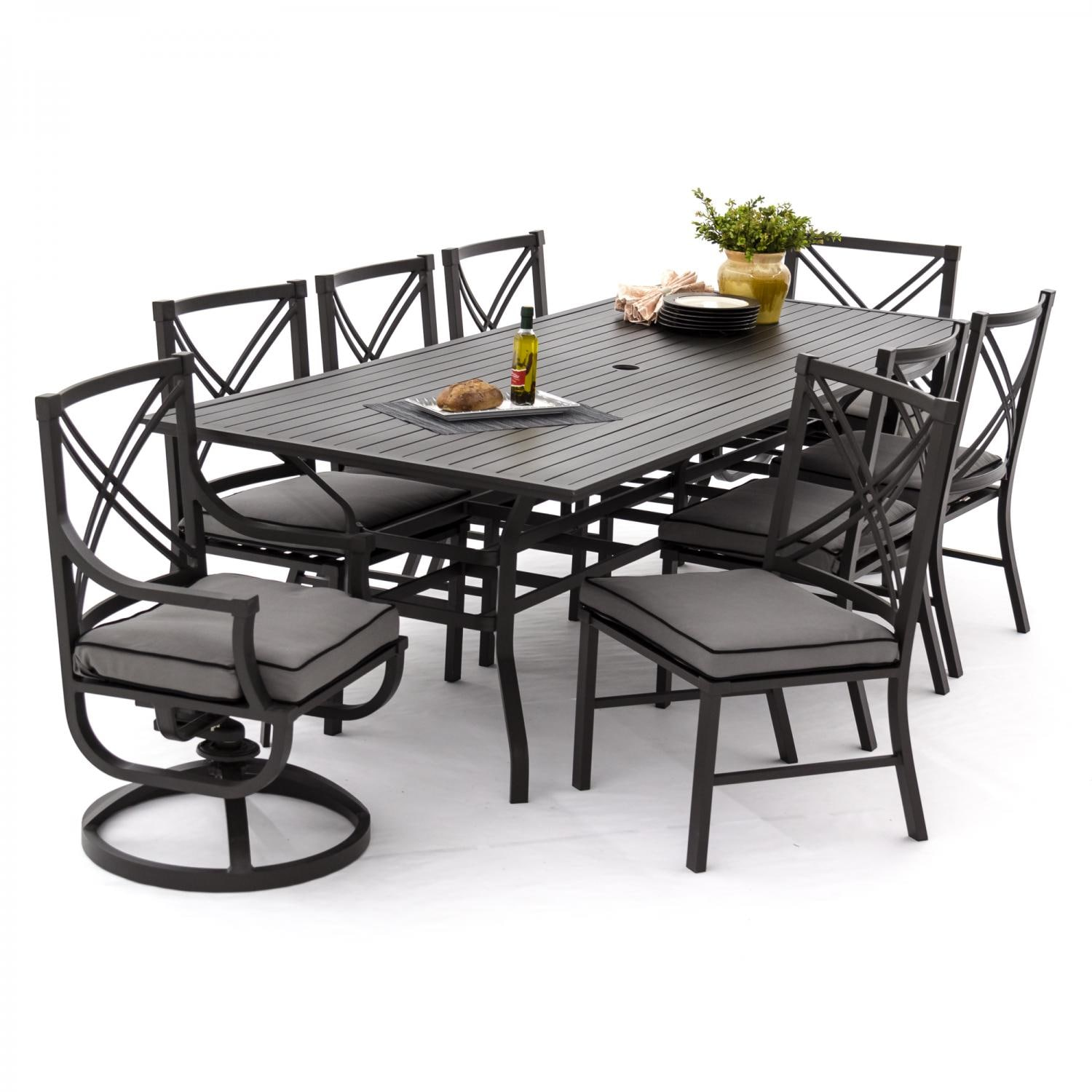 Audubon 9 piece aluminum patio dining set with 6 side for Canvas dining