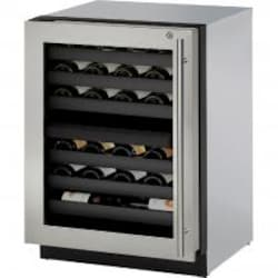 U-Line 3000 Series 24-Inch 43 Bottle Left Hinge Dual Zone Wine Captain With Lock - Stainless Steel - U-3024ZWCS-15B image