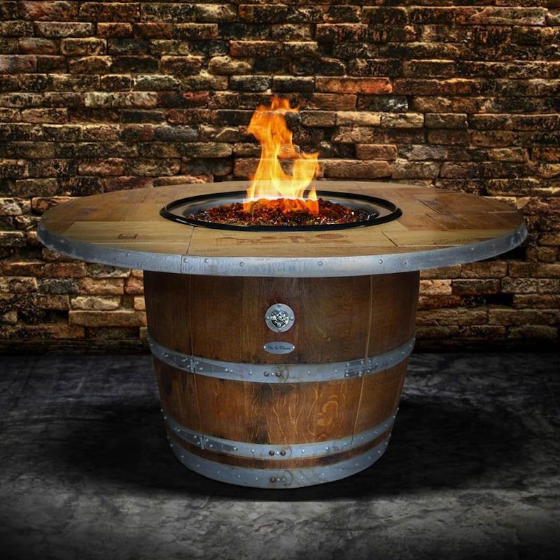 Enthusiast 42 Inch Wine Barrel Fire Pit Table By Vin De
