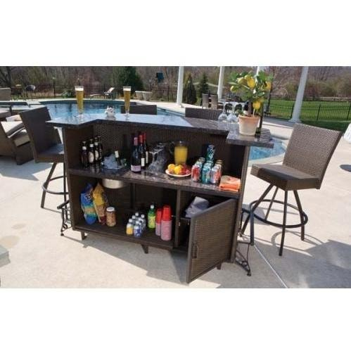 Alfresco Home Vento Granite Top Wicker Outdoor Bar Set With Swivel Bar  Chairs