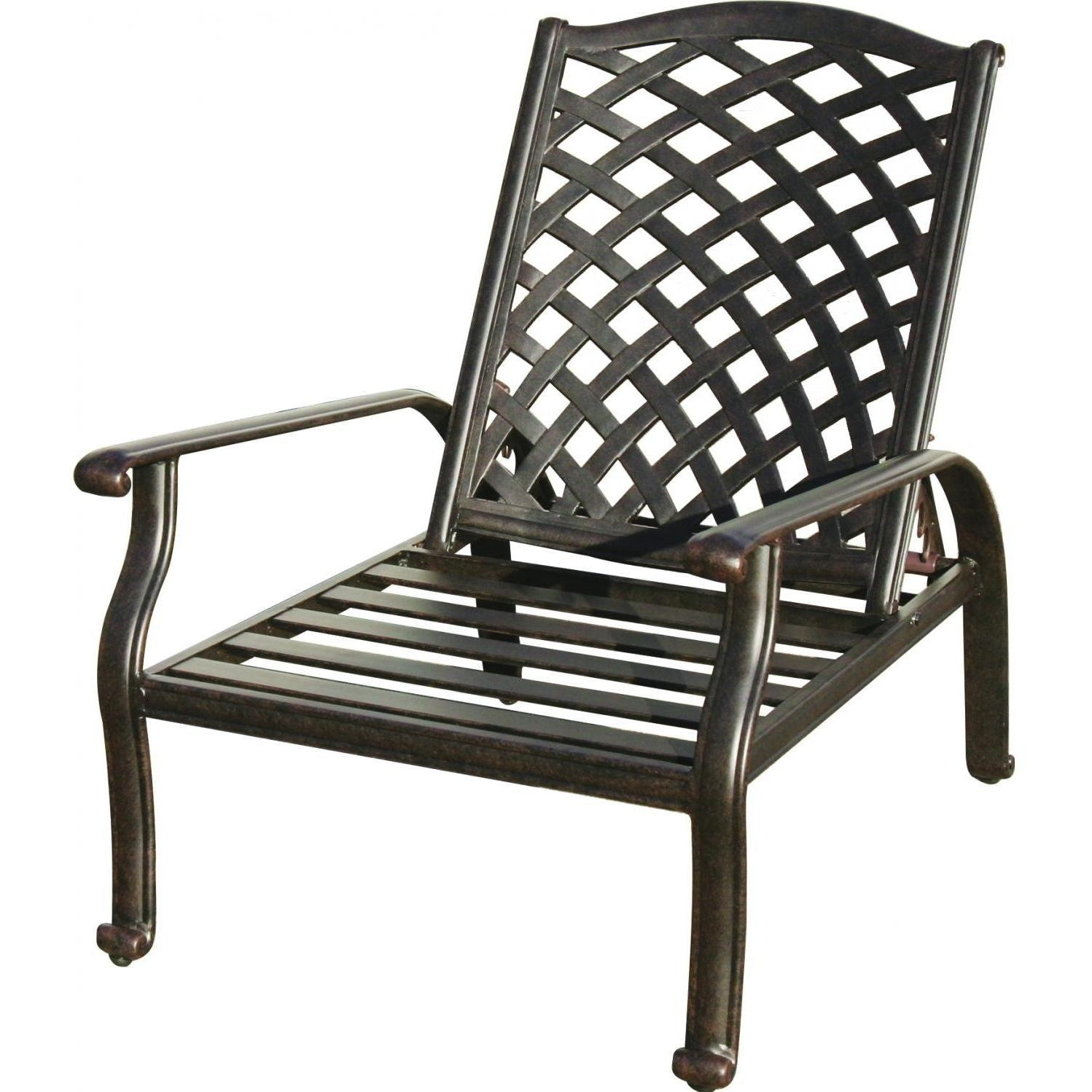 Darlee nassau cast aluminum patio reclining club chair for Aluminum patio chairs