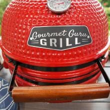 Gourmet Guru Ceramic Kamado Grill On Cypress Wood Vintage Table - Red Gourmet Guru Ceramic Kamado Grill On Cypress Wood Vintage Table - Red - Close Up