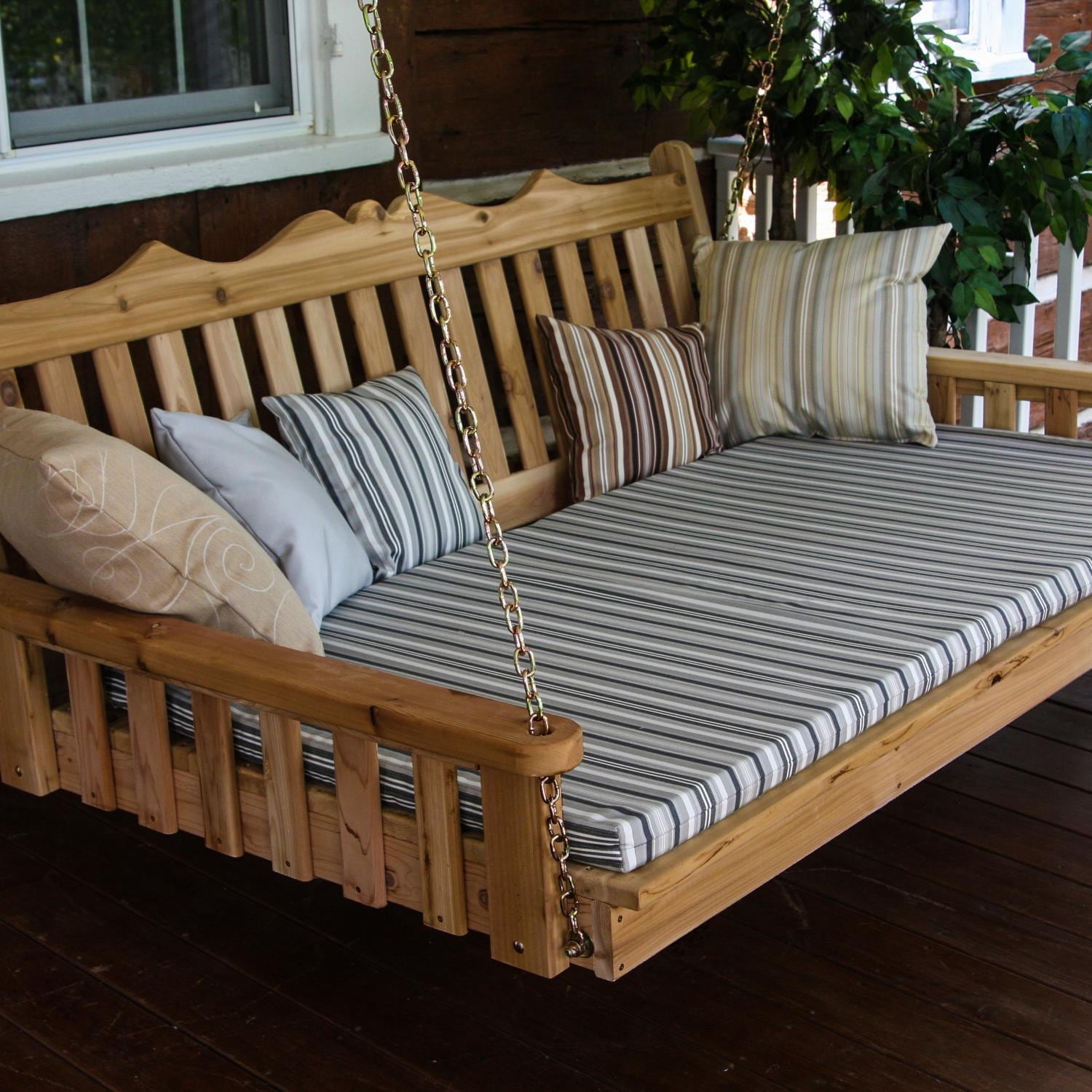 A&L Furniture Royal English 4 Foot Cedar Outdoor Swing Be...