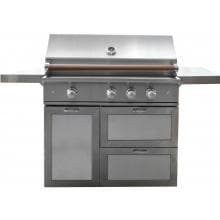 Caliber CrossFlame Pro 42-Inch Freestanding Natural Gas Grill With Sear Burner And Rotisserie - Wood Handle