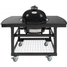 Primo Ceramic Smoker Grill On Cart With 2-Piece Island Side Shelves - Oval Junior