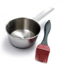 Silicone Basting Brush & Stainless Steel Sauce Pot Set Silicone Basting Brush & Stainless Steel Sauce Pot Set - Full View
