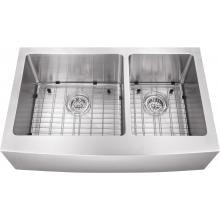 Platinum Sinks 32 X 20 16-Gauge 60/40 Double Bowl Stainless Steel Apron Undermount Sink With Strainer And Grid