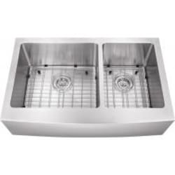Platinum Sinks 32 X 20 16-Gauge 60/40 Double Bowl Stainless Steel Apron Undermount Sink With Strainer And Grid image