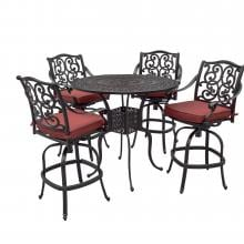 Villa Flora 5 Piece Cast Aluminum Patio Bar Set W/ 42-Inch Round Table & Sunbrella Canvas Henna Cushions By Lakeview Outdoor Designs Villa Flora 5 Piece Cast Aluminum Patio Bar Set W/ 42-Inch Round Table & Sunbrella Canvas Henna Cushions By Lakeview Outdoor Designs