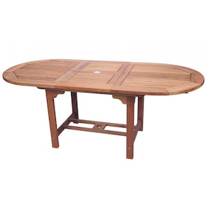 Family 72 X 39 Inch Oval Teak Patio Dining Table W/ Extension By Royal Teak Collection image