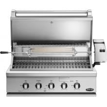 DCS Professional 36-Inch Built-In Natural Gas Grill With Rotisserie - BH1-36R-N DCS 36-Inch Built-In Gas Grill - Hood Open