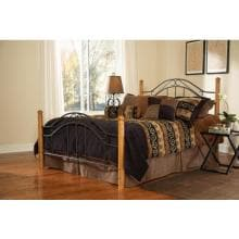 Hillsdale Winsloh Black And Medium Oak Metal And Wood Post Bed Set Without Frame - Queen - 164BQ