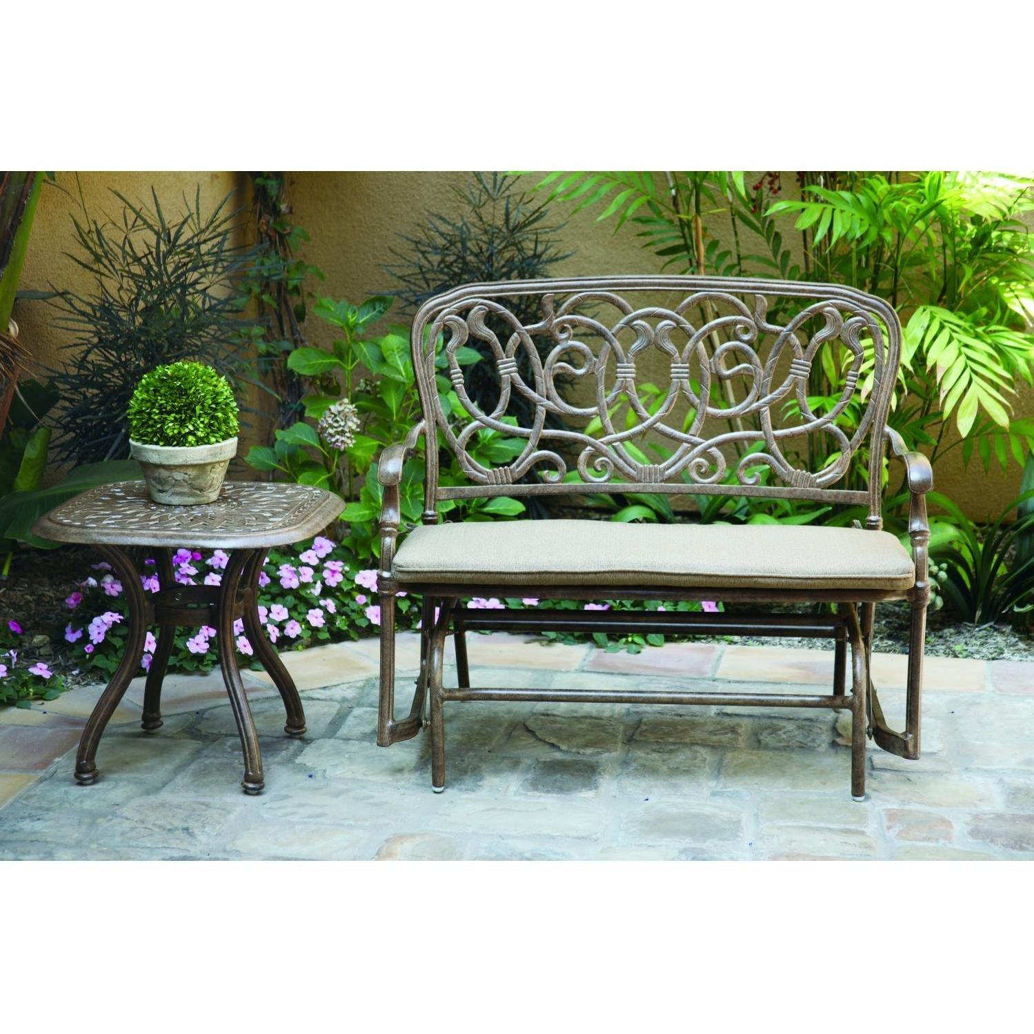 Darlee Florence 2 Piece Cast Aluminum Patio Bench Glider Conversation Seating