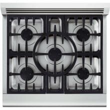 DCS 30-Inch Professional 5-Burner Dual Fuel Natural Gas Range - RDV-305-N DCS 30-Inch Professional Dual Fuel Range - Cooktop Layout